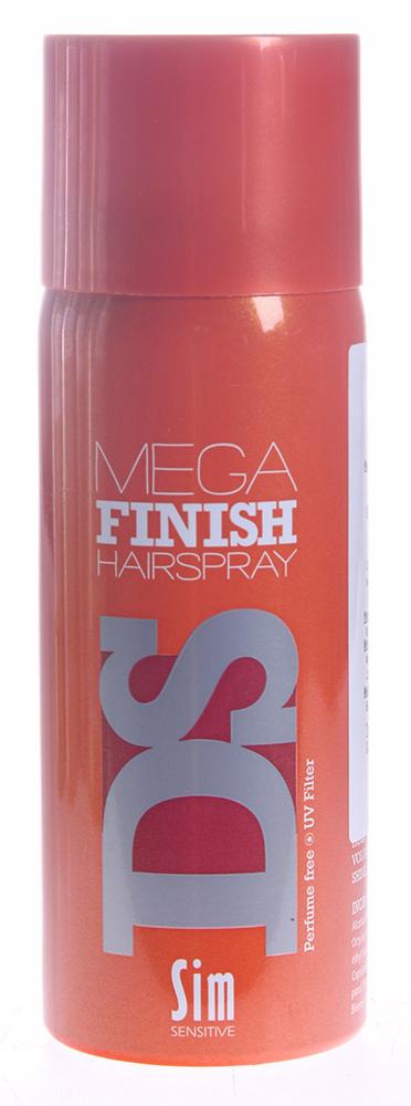 SIM SENSITIVE Лак-аэрозоль Мега Финиш / Mega Finish Hairspray DS 50млЛаки<br>Лак Мега Финиш сильной фиксации. Незаметен на волосах. Не зависимо от жары или влажности, мгновенно фиксирует созданную форму и сохраняет ее на протяжении длительного времени. Обладая сильной фиксацией, лак легко вычесывается. Не содержит парабен и консерванты. Фиксация - 5. Объем - 4. Блеск - 5. Способ применения: уложите волосы в прическу и зафиксируйте лаком с расстояния в 15-20 см.<br>