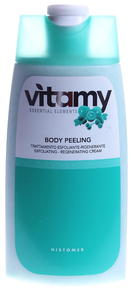 HISTOMER Крем-пилинг регенерирующий для душа / VITAMY TREATMENT 250млСкрабы<br>Удаляет ороговевшие клетки кожи гранулами Жожоба. Содержит восстанавливающие ингредиенты. Стимулирует клеточные обменные процессы, выводит токсины, усиливает проникновение косметических средств.&amp;nbsp; Активные ингредиенты: Линия Vitamy основана на уникальной формуле Кальций Альфа и комплексе витаминов (А, Е, С, В1, В2, В3, В5, В6, F, Н), которые ревитализируют кожные ткани, восстанавливают процессы питания и метаболизма. В составе пилинга миндальное масло и гранулы Жожоба.&amp;nbsp; Способ применения: Легкими круговыми движениями нанести пилинг для тела на влажную кожу. Массировать в течение нескольких минут. Смыть теплой водой.<br><br>Тип: Крем-пилинг<br>Объем: 250