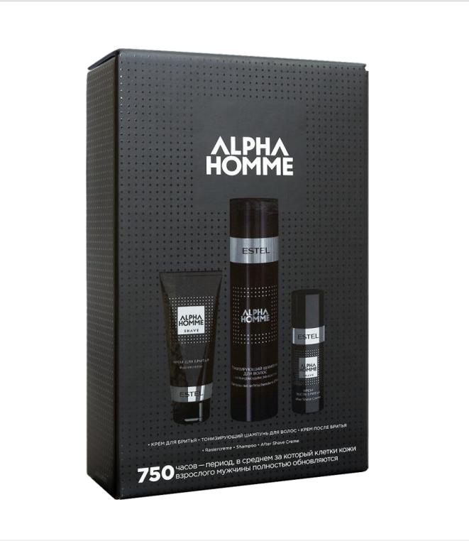 ESTEL PROFESSIONAL Набор для мужчин (тонизирующий шампунь для волос, крем для бритья, крем после бритья) / ALPHA HOMME 750