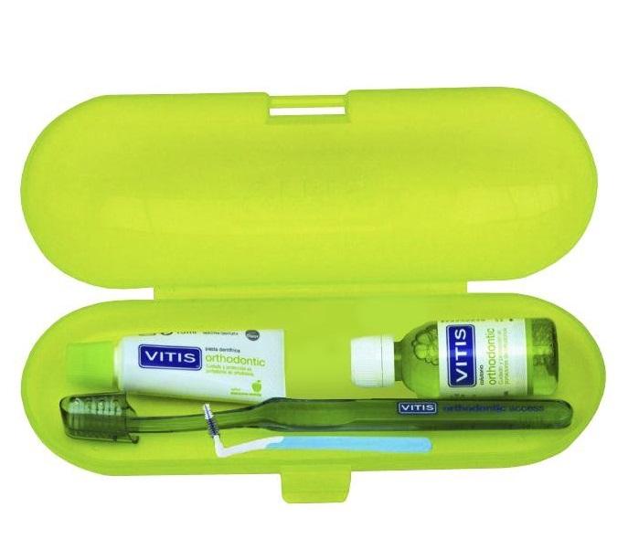 DENTAID Набор ортодонтический в пенале (зубная паста 15 мл, ополаскиватель 30 мл, зубная щетка, ершик межзубный 1шт, воск 4 г) Ortho Kit