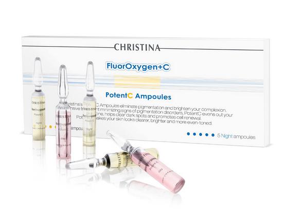 CHRISTINA Ампулы с сывороткой для осветления кожи / FluorOxygen+C PotentC Ampoules (5 дневных и 5 ночных ампул)