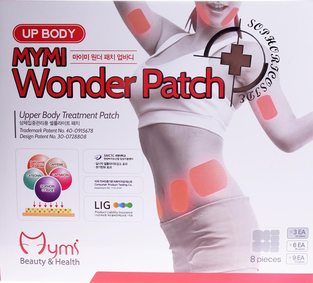 MYMI Патчи для похудения верхней части тела / Wonder Patch Upbody MYMI 3штПластыри<br>Пластырь используется как вспомогательное средство при похудении и для укрепления тургора кожи. Этот вид пластыря используется на поверхности рук, лица, боков. С пластырем можно принимать душ и спать. Стимулирует липолиз, расщепляет жир, укрепляет кожу. Помните, что для повышения эффективности действия пластыря следует придерживаться диеты и делать физические упражнения. Активные ингредиенты: Sophoricoside: натуральное запатентованное вещество с эффектами снижения веса и жировых отложений. Катехин: тормозит накопление жировых клеток и расщепляет их. Капсаицин: вырабатывается из сортов жгучего перца, предотвращает накопление жировых клеток и улучшает обменные процессы. Кофеин: уничтожает проявления целлюлита, расщепляя жировые клетки. Sallcornia herbacaa: уход за кожей. Способ применения: снимите среднюю часть пленки. Приложите к проблемной зоне. Снимите обе стороны пленки и аккуратно приложите / прижмите к коже. Удерживайте пластырь еще в течение 2 ~ 3 минут, удалите его через 6 ~ 8 часов в горизонтальном направлении. Размеры: Большой - 9,3 см. х 8,2 см. Средний - 9,3 см. х 5,6 см. Малый - 7,4 см. х 4,4 см.<br><br>Назначение: Целлюлит