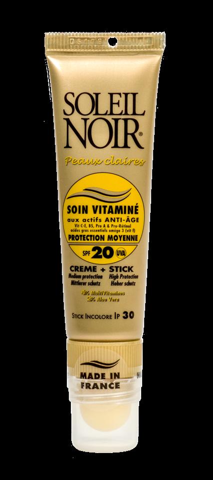 SOLEIL NOIR Набор для лица Средняя степень защиты (Крем для лица SPF20 и бальзам для губ SPF30) 20+2мл