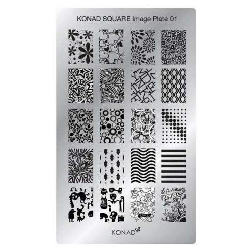 KONAD Пластина прямоугольная / Square Image Plate01 30грСтемпинг<br>Пластина для стемпинга Конад Square Plate 01 с неповторимыми узорами из цветов, сердец, букв, кружков и абстракций. Пластины для стемпинга также называют плитками. На них Вы найдете гораздо больше рисунков для ногтей, чем на обычных дисках.&amp;nbsp; Размер пластины: 135х80 мм Активные ингредиенты: сталь Способ применения: нанесите специальный лак&amp;nbsp;на рисунок, снимите излишки скрайпером, перенесите рисунок сначала на штампик, а затем на ноготь и Ваш дизайн готов! Не переставайте удивлять себя и близких красотой и оригинальностью своего маникюра!<br>