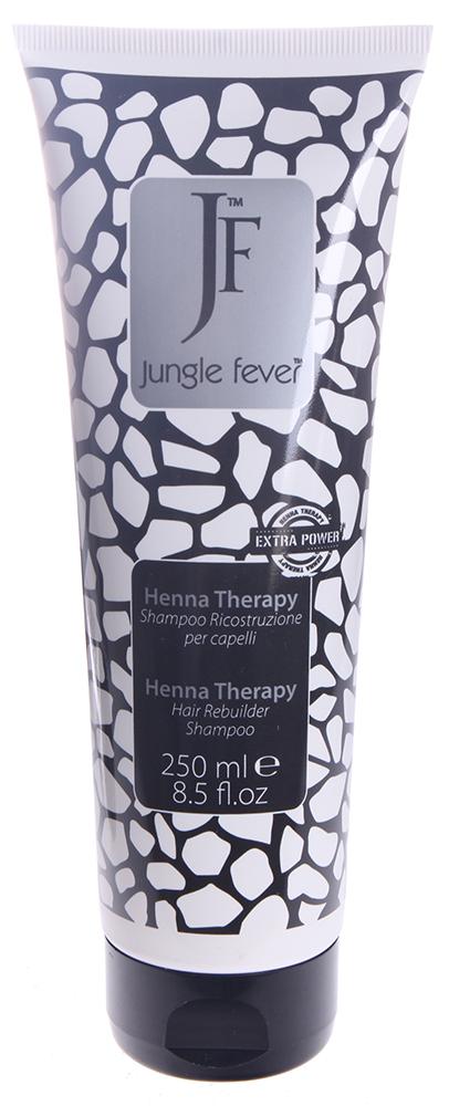 JUNGLE FEVER Шампунь восстанавливающий / Hair Rebuilder Shampoo HENNA THERAPY 250млШампуни<br>Восстанавливающий структуру волос шампунь с экстрактом лавсонии. Возвращает волосам силу, объем и улучшает состояние кожи головы уже после первого применения. Эфирные масла и дубильные вещества лавсонии (Lavsonia inermis - Хна) укрепляют и оздоравливают волосяной стержень и фолликулы, что препятствует выпадению волос. Содержащийся в экстракте финика пальчатого (Phoenix Dactylifera) танин поддерживает упругость кожи; благодаря высокому содержанию углеводов экстракт эффективно увлажняет её, а комплекс активных веществ оказывает антисептическое и регенеративное воздействие, активизируя естественные восстановительные функции кожи. При уходе за сухими, поврежденными, окрашенными волосами масло муру-муру (Astrocaryum Murumuru) показывает блестящие результаты &amp;ndash; даже жесткие и непослушные волосы при регулярном использовании этого масла становятся послушными, мягкими, легко укладываются и держат прическу, приобретают интенсивный здоровый блеск. Активные ингредиенты: содержит экстракты лавсонии, финика пальчатого и масло муру-муру Способ применения: нанести 10 мл. шампуня на кожу головы и влажные волосы, массировать 2-3 минуты до образования пены, затем тщательно смыть теплой водой. При необходимости повторить. Далее, для достижения максимального результата, использовать Крем восстанавливающий с экстрактом лавсонии.<br><br>Вид средства для волос: Восстанавливающий<br>Тип кожи головы: Сухая<br>Назначение: Выпадение