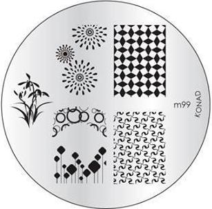 KONAD Форма печатная (диск с рисунками) / image plate M99 10грСтемпинг<br>Диск для стемпинга Конад М99 с изображениями бамбука, брызг, а также с узором из гусиных лапок. Несколько видов изображений, с помощью которых вы сможете создать великолепные рисунки на ногтях, которые очень сложно создать вручную. Активные ингредиенты: сталь. Способ применения: нанесите специальный лак&amp;nbsp;на рисунок, снимите излишки скрайпером, перенесите рисунок сначала на штампик, а затем на ноготь и Ваш дизайн готов! Не переставайте удивлять себя и близких красотой и оригинальностью своего маникюра!<br>