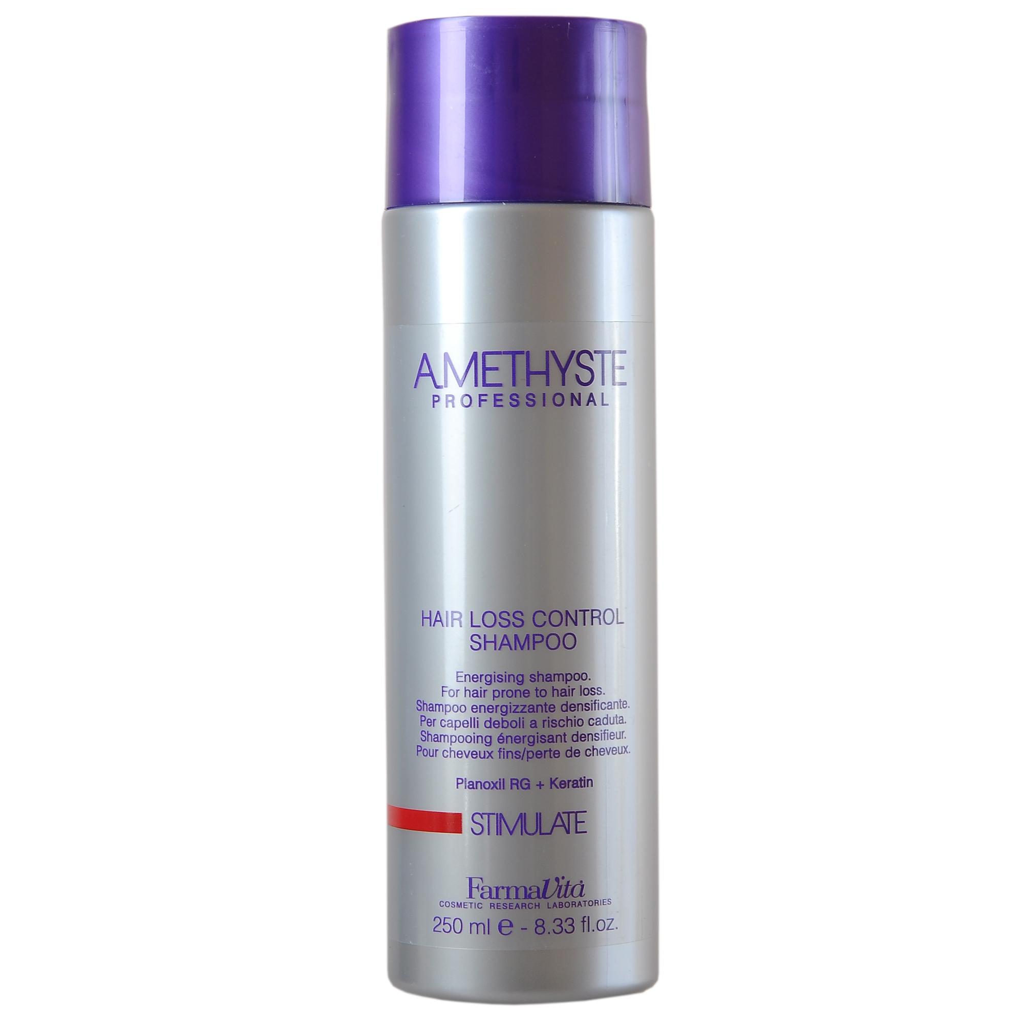 FARMAVITA Шампунь против выпадения волос Amethyste stimulate / AMETHYSTE PROFESSIONAL 250 млШампуни<br>Энергетический шампунь против выпадения волос Amethyste Stimulate Hair Loss Control. Для придания силы и укрепления тонких и выпадающих волос. Оказывает стимулирующее воздействие на кожу головы. Волосы становятся более объемными, плотными и густыми. Содержит комплекс активных компонентов (Planoxil RG+ кератин), получивший сертификат Ecocert, заметно стимулирует рост волос. Активные ингредиенты: Planoxil RG - является агентом роста волос, обладает способностью вызывать ранние преобразования телогена (фаза покоя волоса ) в анаген (фаза активного роста волоса). Заметно увеличивает глубину и размер волосяных фолликулов. Кератин - чрезвычайно эффективный кондиционер за счет содержания цистина. Создает защитный пленкообразующий эффект. Обеспечивает длительный эффект и придает естественный блеск. Способ применения: нанести шампунь Amethyste Stimulate Hair Loss Control на увлажненные волосы и кожу головы. Вспенить, распределить аккуратными массажными движениями. Смыть. При необходимости процедуру повторить. Применять вместе с лосьоном Amethyste Stimulate Hair Loss Control Intensive.<br><br>Объем: 250 мл<br>Назначение: Выпадение
