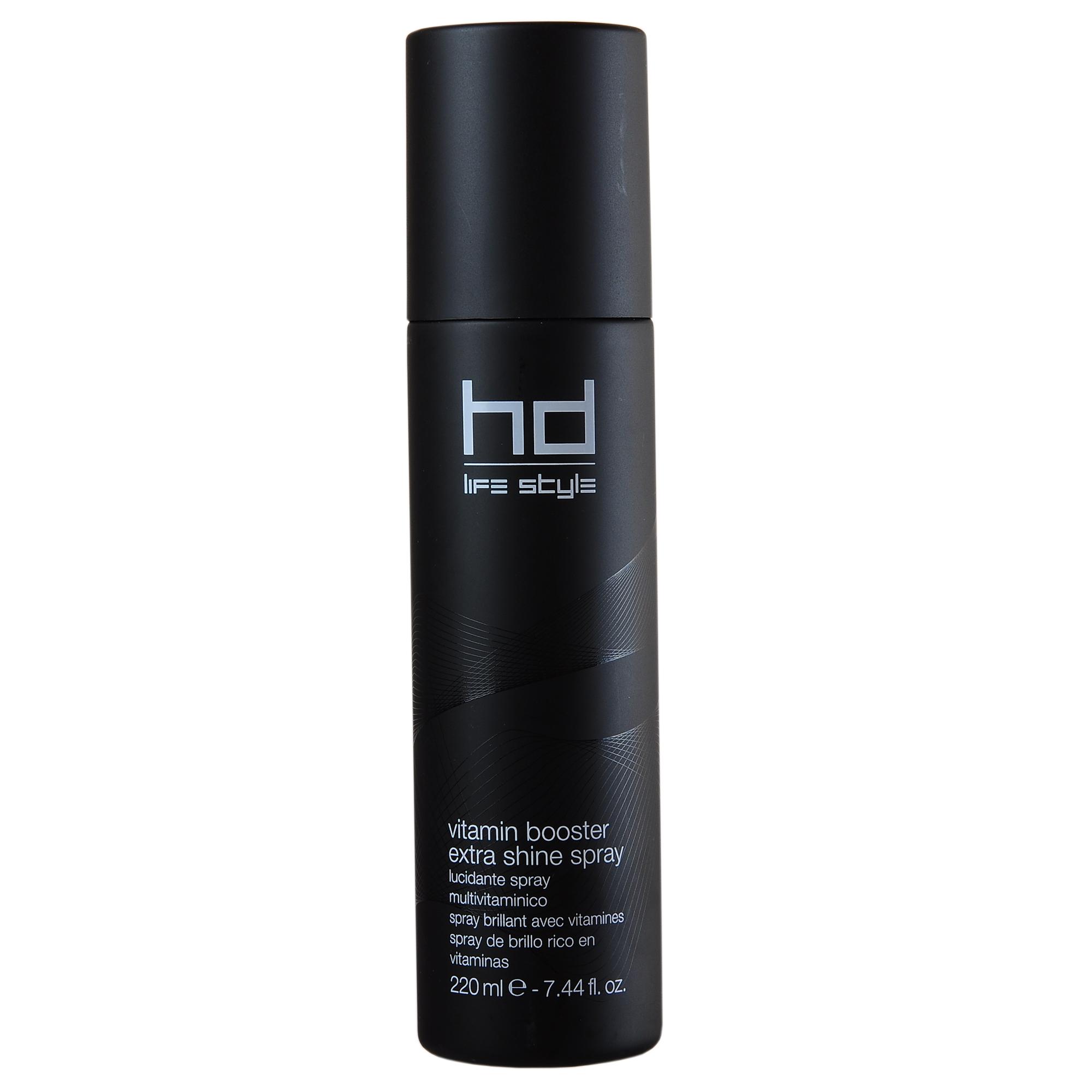 FARMAVITA Спрей экстра-блеск с витаминами VITAMIN BOOSTER EXT.SHINE SP. / HD LIFE STYLE 220 млСпреи<br>Придает солнечный блеск волосам, не перегружая их. Энергетический коктейль из витаминов С и Е, провитамина В5 и драгоценных силиконов, делает волосы эластичными и шелковистыми. Сохраняет косметический цвет. Способ применения: перед распылением взболтайте, нанесите на сухие волосы на расстоянии не менее 20 см. Также можно наносить под корни волос для объёма.<br><br>Объем: 220 мл<br>Класс косметики: Косметическая