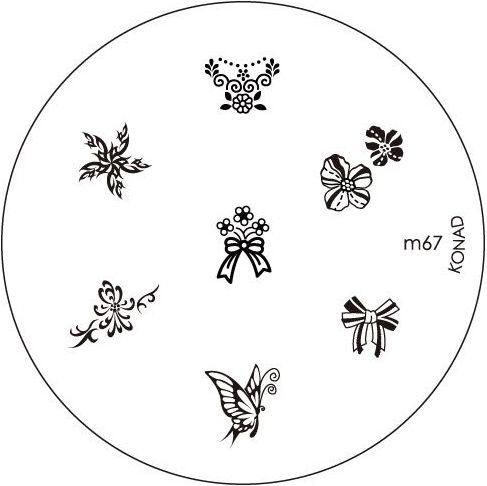 KONAD Форма печатная (диск с рисунками) / image plate M67 10грСтемпинг<br>Диск для стемпинга Конад М67 с изображениями очередной серии дивных бантиков и цветочков. Несколько видов изображений, с помощью которых вы сможете создать великолепные рисунки на ногтях, которые очень сложно создать вручную. Активные ингредиенты: сталь. Способ применения: нанесите специальный лак&amp;nbsp;на рисунок, снимите излишки скрайпером, перенесите рисунок сначала на штампик, а затем на ноготь и Ваш дизайн готов! Не переставайте удивлять себя и близких красотой и оригинальностью своего маникюра!<br>
