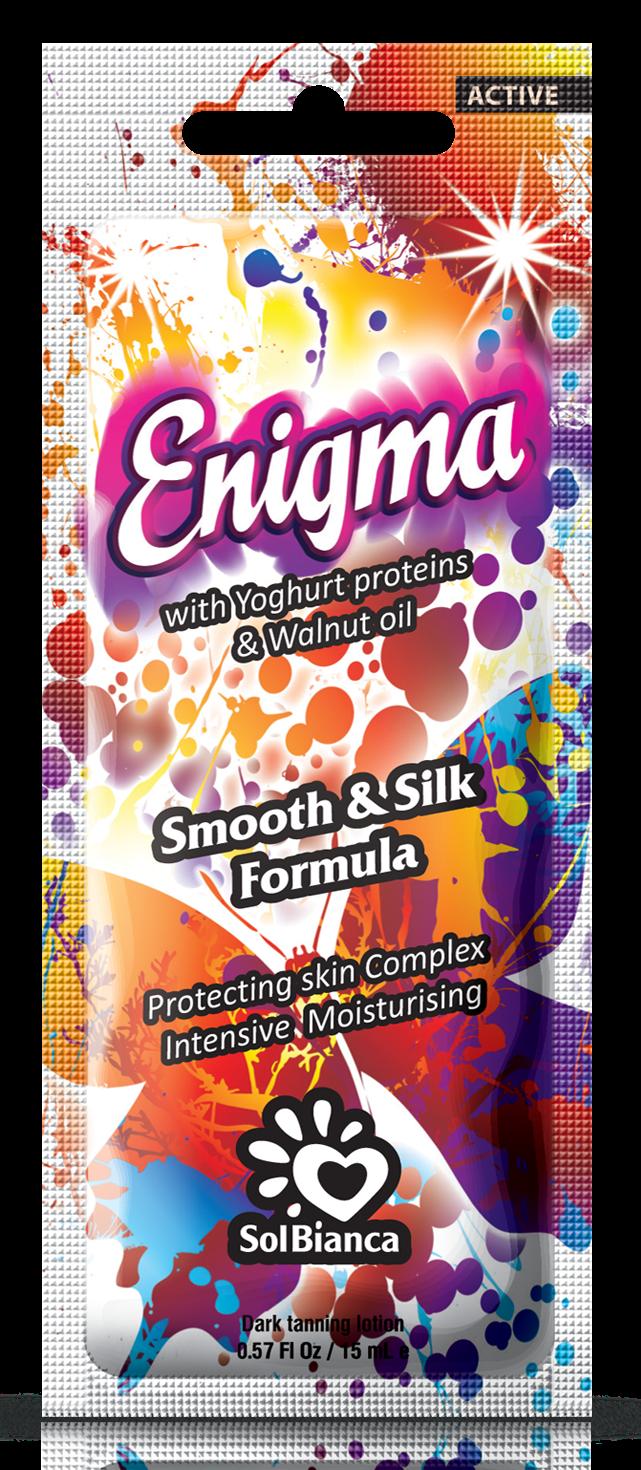 SOLBIANCA Крем для загара в солярии  Enigma  с протеинами йогурта / AСTIVE COLLECTION 15 млКремы<br>Легкий крем на основе протеинов йогурта создан для интенсивного ухода за Вашей кожей. Обладает повышенным косметическим воздействием, активно питает, защищает и увлажняет кожу. Ухоженная и загорелая кожа   это не миф. Активные ингредиенты: протеины йогурта, масло грецкого ореха, масло авокадо, масло кокоса, экстракт алоэ, пантенол. Состав: (INCI) Aqua, Isopropyl Palmitate, Glycerin, Cetearyl Alcohol, Propylene Glycol, Paraffinum Liquidum, Dimethicone, Caprylic Capric Triglyceride, Stearyl Alcohol, Ceteareth   6, PEG   100 Stearate, Aloe Barbadensis Extract, Hydrogenated Palm Oil, Cyclomethicone, Phenoxyethanol, Methylparaben (and) Ethylparaben (and) Propylparaben, Glyceryl Stearate, Ceteareth   20, Ceteareth   12, Cetyl Palmitate, Betaine, Ethyl Ester of Hydrolyzed Yogurt Protein, Panthenol, Juglans Regia Seed Oil, Persea Gratissima Oil, PEG-75 Lanolin, Tocopheryl Acetate, Glycin, Allantoin, Triethanolamine, Carbomer, Sodium PCA, Hippophae Rhamnoides Extract, Methylchloroisothiazolinone, Methylisothiazolinone, Caramel, CI 45100, Parfume, Hexyl Cinnamal, Butyl Phenyl Methyl Propional, Linalool, 4   Hydroxy Isohexyl   3   Cyclohexene Carboxaldehyde. Способ применения: аккуратными массажными движениями равномерно распределить содержимое по сухой чистой коже. Аккуратно втереть.<br><br>Класс косметики: Косметическая