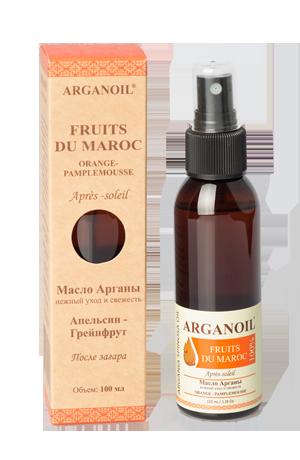 ARGANOIL Масло Арганы после загара Апельсин-Грейпфрут / FRUITS DU MAROC 100млМасла<br>Для смягчения и увлажнения кожи после солнечных ванн. Нежно оживляет и питает Вашу кожу. Эфирное масло апельсина обладает успокаивающим, высоким противовоспалительным, регенерирующим, антисептическим, иммуностимулирующим и релаксирующим свойствами. Эфирное масло грейпфрута уменьшает мышечную боль и снимает усталость.&amp;nbsp; Активные ингредиенты: Argania Spinosa kernel oil, Almond (Prunus Dulcis) Oil, Prunus armeniaca, Citrus sinensis, Citrus paradisii, Tocopheryl Acetate. Способ применения: после принятия солнечных ванн небольшое количество масла нанести на очищенную кожу лица и тела легкими массирующими движениями. Только для наружного применения. Избегать попадания в глаза.<br><br>Объем: 100 мл