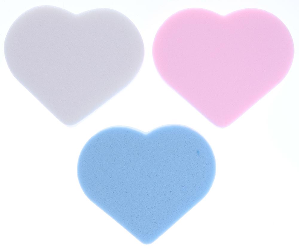 TITANIA Губка макияж 3шт/упГубки<br>Комплект поролоновых губок Titania разного цвета в форме сердца для снятия/нанесения макияжа, 3 штуки.<br>