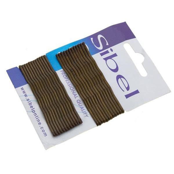 SIBEL Невидимки 70мм 24/уп кор.волнаНевидимки<br>Невидимки волнистые Sibel 70 мм, коричневые (24 шт/уп)<br>