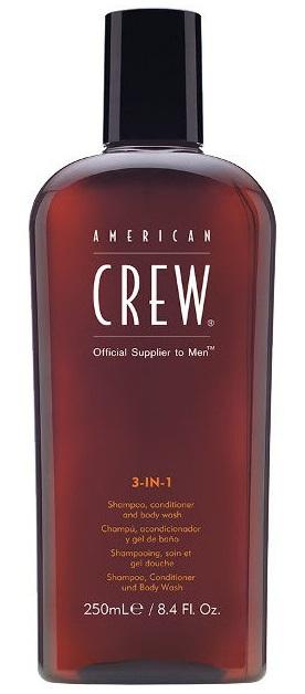 AMERICAN CREW Средство для волос 3 в 1, для мужчин (шампунь, кондиционер и гель для душа) 250 мл