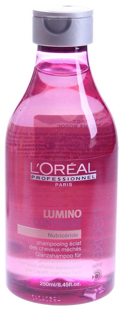 LOREAL PROFESSIONNEL Шампунь для мелированных волос / ЛЮМИНО КОНТРАСТ 250млШампуни<br>Шапунь входит в серию средств на основе активных полимеров. Восстанавливает липидный баланс волос, обеспечивает питание и качественный уход за окрашенными прядями. Создан по технологии Nutriceride, которая излечивает окрашенные пряди, мягко и бережно очищает волосы и изнутри укрепляет его структуру. Шампунь Люмино Контраст делает цвет волос ярким и насыщенным, питает пряди полезными веществами, которые излечивают волос. Шампунь делает Ваши волосы сильными, мягкими и увлажненными. Это надежная защита для волос. Препарат получил одобрение у пользователей по всему миру. Волосы гладкие и послушные, получают питание изнутри, хорошо увлажнены, неизбежно становятся мягкими и шелковистыми на ощупь. Прическа приобретает ухоженный вид, сохраняя его при любой погоде. Активный состав: Вода, лауретсульфат натрия, протеины, свободные аминокислоты, липиды, витаминный комплекс, ухаживающая формула, комбинация натуральных компонентов. Применение: Нанести на влажные волосы, распределить и вспенить. Тщательно смыть. В случае необходимости повторить. При попадании в глаза немедленно промыть проточной водой.<br><br>Объем: 250<br>Типы волос: Окрашенные