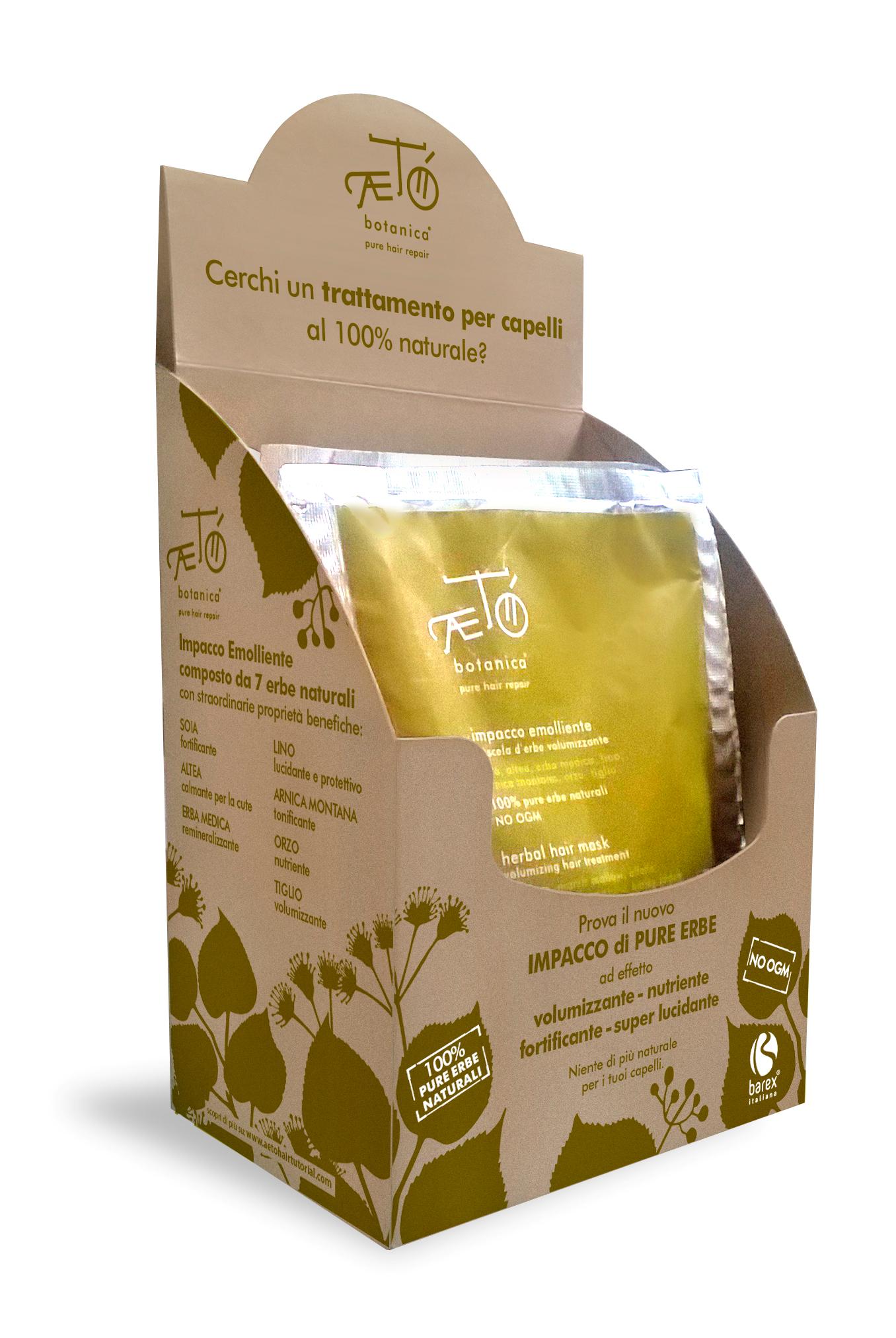 BAREX Маска смягчающая, из растительной смеси, для обертывания волос, с эффектом укрепления / АЕТО 5*100грМаски<br>МАСКА СМЯГЧАЮЩАЯ ДЛЯ ОБЕРТЫВАНИЯ ВОЛОС Impacco Emolliente miscela derbe volumizzante из линии Aeto Botanica - Натуральная смесь из ценных трав в виде порошка: алтей, соя, люцерна, лен, арника и ячмень! Обладает исключительными восстанавливающими оздоравливающими свойствами для кожи головы и одновременно защитно - увлажняющим, укрепляющим действием по длине волос, плюс придает дополнительный объем прическе! Рекомендована всем! Окрашенным, обесцвеченным, ослабленным, тонким волосам в качестве горячего компресса. Активные ингредиенты: смесь измельченных растений: соя, алтей, люцерна, лен, арника, ячмень, липа<br>