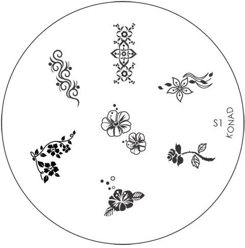 KONAD Форма печатная (диск с рисунками) / image plate S1 10гр декор для маникюра konad печатная форма диск image plate m102