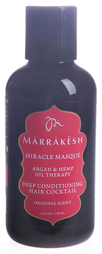 MARRAKESH Маска для волос укрепляющая / Marrakesh Miracle Masque 118 млМаски<br>Основные преимущества: - Восстанавливает самые пористые, сухие, поврежденные волосы.&amp;nbsp; - Значительно улучшает внутреннюю силу волоса.&amp;nbsp; - Восстанавливает поврежденную кутикулу волоса.&amp;nbsp; - Делает волосы послушными и добавляет блеск.&amp;nbsp; - Можно использовать на окрашенных волосах.&amp;nbsp; - Масла Арганы и Конопли значительно улучшают состояние волос и их текстуру.&amp;nbsp; - Масло Жожоба восстанавливает сухие, поврежденные волосы, придавая им блеск.&amp;nbsp; - Протеины пшеницы укрепляют волос изнутри и восстанавливают поврежденную кутикулу. Способ применения: нанесите небольшое количество маски на чистые влажные волосы. Массажными движениями распределите маску по длине волос. Оставьте маску на волосах на 5-10 минут, смойте. Для более глубокого проникновения маски в волосы, используйте тепло.<br><br>Объем: 118 мл<br>Вид средства для волос: Укрепляющая
