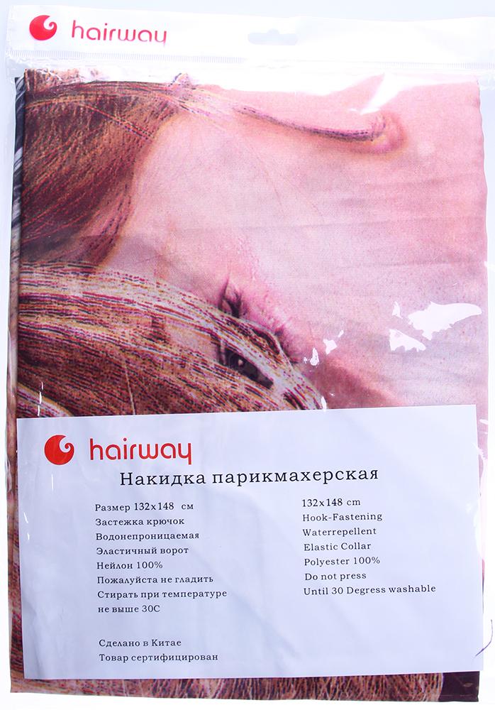 HAIRWAY Пеньюар MF Profil бордо 1.уп Hairway-Пеньюары<br>Пеньюар нейлоновый водонепроницаемый Hairway Profil 37641 &amp;#40;бордово-белый&amp;#41;. Размер: 128 х 164 см.<br>