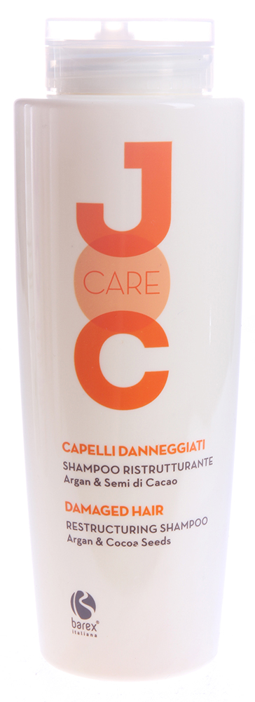 BAREX Шампунь Глубокое восстановление с Аргановым маслом и Какао бобами / JOC CARE 250млШампуни<br>Глубоко питает и восстанавливает повреждённые и ослабленные волосы, придавая им сияние и укрепляя их. Волосы становятся невероятно мягкими, шелковистыми и легко поддаются укладке. Аргановое масло: мгновенно восстанавливает структуру волокон, уплотняя их и одновременно защищает волосы от негативного воздействия окружающей среды. Какао-бобы: благодаря входящему в их состав смягчающему маслу, этот шампунь является очень мягким очищающим средством. Активные ингредиенты: аргановое масло, какао-бобы, протеины пшеницы, кондиционирующие полимеры Способ применения: нанести шампунь на влажные волосы и кожу головы легкими массажными движениями до образования пены, оставить на несколько минут, затем смыть водой. Для достижения наилучших результатов, использовать вместе с МАСКОЙ ГЛУБОКОЕ ВОССТАНОВЛЕНИЕ JOC CARE.<br><br>Вид средства для волос: Восстанавливающий