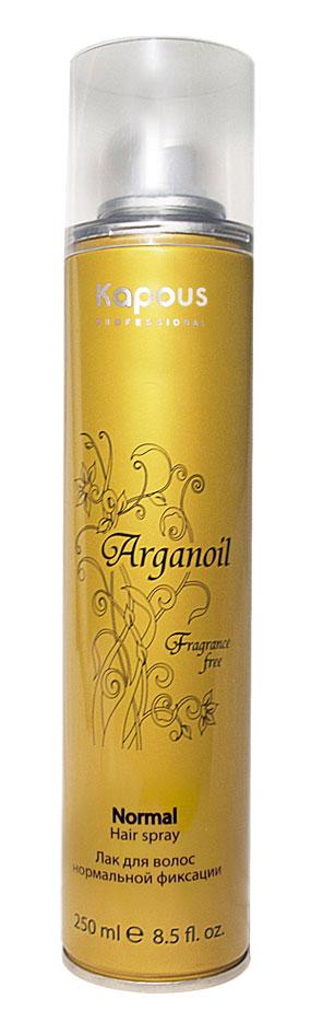 KAPOUS Лак аэрозольный для волос нормальной фиксации с маслом арганы / Arganoil 250млЛаки<br>Лак для волос нормальной фиксации предназначен для создания подвижных и эластичных укладок. Благодаря уникальной формуле лак абсолютно сухой, обеспечивает мелкодисперсное распыление и надежную фиксацию. Масло Арганы придает волосам естественный блеск, предотвращает иссушение. УФ-фильтры защищают волосы от влияния окружающих факторов. Способ применения: перед применением баллон хорошо встряхнуть, равномерно нанести лак на завершенную укладку с расстояния 30-35 см.<br>