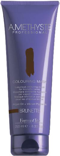 FARMAVITA Маска оттеночная brunette / AMETHYSTE 250 млМаски<br>Brunette - добавит приятный натуральный шоколадный тон любому темному цвету. Благодаря эксклюзивной формуле, способны поддерживать или кардинально изменять косметический цвет в течение нескольких минут. Обеспечивают волосы дополнительным интенсивным питанием, благодаря наличию в составе Арганового масла. После применения волосы обретают чрезвычайную мягкость и шелковистость. Amethyste Colouring mask идеально подходит для:   оживления и сохранения косметического цвета между посещениями салона красоты   используя маску на натуральные волосы, Вы получаете более глубокий оттенок и ювелирный блеск ПРЕИМУЩЕСТВА: 1.ДЕЛИКАТНОЕ ОТНОШЕНИЕ К ВОЛОСАМ: продукт не содержит аммиака и не смешивается с оксидантом; 2.СОХРАНЕНИЕ И УСИЛЕНИЕ КОСМЕТИЧЕСКОГО ЦВЕТА; 3.ЖИВЫЕ И БЛЕСТЯЩИЕ ВОЛОСЫ: спасибо аргановому маслу (состав которого богат Витамином Е, Омега-кислотами и натуральными Токоферолами) за ни с чем несравнимое увлажнение, омоложение и укрепление волос; 4.ОЧАРОВАТЕЛЬНЫЙ АРОМАТ: придает волосам изысканность, благодаря тонкому сочетанию ноток Жасмина и Китайского чая; 5.УДОБСТВО И ПРОСТОТА ИСПОЛЬЗОВАНИЯ Активные ингредиенты: система Omnia Color: Масло из семян пенника лугового - драгоценное масло, богато природными антиоксидантами и уникальным составом жирных кислот. Помогает сохранить интенсивность цвета и блеск волос. Исследования показали, что масло проникает в волокна волос, восстанавливая структуру и повышая его прочность. Пантенол - глубоко проникает в структуру и позволяет сбалансировать естественный уровень влаги в волосах. УФ-фильтр - защищает волосы от выгорания на солнце, вымывания красителя и потускнения цвета. Олигоминеральный комплекс - комплекс олигоэлементов (кремний, магний, медь, железо, цинк), которые глубоко проникают в волокна волос и помогают восстановить поврежденные участки. Способ применения: нанесите на волосы после применения шампуня или обычной питательной маски. Время выдержки от 5 до 15 мин