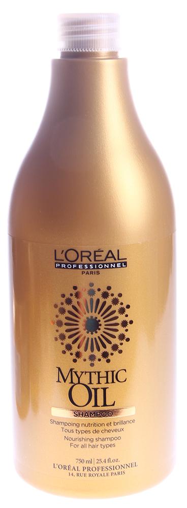 LOREAL PROFESSIONNEL Шампунь питательный / МИТИК ОЙЛ 750млШампуни<br>Средство предназначено для увлажнения, питания и восстановления структуры волос.  Этот питательный шампунь для блеска волос предназначен для ухода и очищения волос и кожи головы, придает неповторимый блеск и гладкость вашим волосам. Глубокое питание волос, их мягкость и ощущение свежести обеспечивается благодаря натуральным маслам, входящим в состав шампуня: Масло арганы - для увлажнения, питания и восстановления структуры волос. Хлопковое масло (холодного отжима) - для сохранения необходимого гидробаланса, для увеличения защитных свойств волос и кожи головы. Шикарный блеск и гладкость волос обеспечивается благодаря маслу виноградных косточек.  Применение: Нанести на влажные волосы питательный шампунь Mythic Oil, вспенить массажными движениями, после чего тщательно смыть теплой водой.<br><br>Вид средства для волос: Питательный<br>Типы волос: Для всех типов