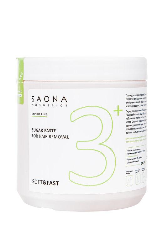 SAONA COSMETICS Паста сахарная мягкая для шугаринга № 3+, без разогрева / SOFT & FAST Expert Line 1000 г