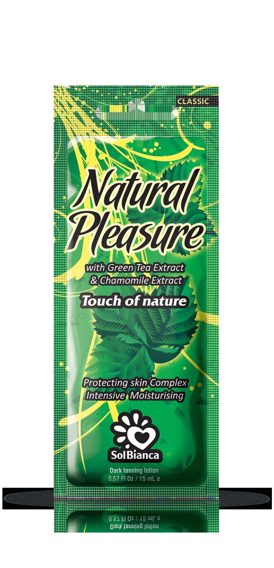 SOLBIANCA Крем для загара в солярии  Natural Pleasure  с экстрактом зеленого чая / CLASSIC COLLECTION 15 млКремы<br>Легкий крем на основе экстрактов зеленого чая и аптечной ромашки создан для интенсивного ухода. Обладает активным фитокомплексом который, активно питает, защищает и увлажняет кожу. Натуральное наслаждение для Вашей кожи! Активные ингредиенты: экстракт зеленого чая и аптечной ромашки. Состав: (INCI) Aqua, Palm Hydrogenated Oil, Isopropyl Palmitate, Caprylic Capric Triglyceride, Cetearyl Alcohol, Dihydroxyacetone, Isohexadecane, Glycerin, Dimethicone, Propylene Glycol, Aloe Barbadensis Extract, Panthenol, Persea Gratissima Oil, Mannan, Camellia Sinensis Leaf Extract, PEG   75 Lanolin, Acrylates / Palmeth   25 Acrylate Copolymer, Parfume, Glyceryl Stearate, Ceteareth   20, Ceteareth   12, Cetyl Palmitate, PEG   100 Stearate, Stearyl Alcohol, Ceteareth   6, Wheat Germ Oil PEG   8 Esters, Phenoxyethanol, Methylparaben (and) Ethylparaben (and) Propylparaben, DMDM Hydantoin, Chamomilla Recutita Extract, Potassium Hydroxide, Citral, Citronellol, Butylphenyl Methylpropional, Linalool, Limonene. Способ применения: аккуратными массажными движениями равномерно распределить содержимое по сухой чистой коже. Аккуратно втереть.<br>