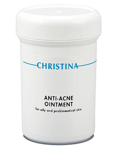 CHRISTINA Средство для коррекции акне для жирной проблемной кожи / Anti-Acne Ointment 250млМаски<br>Действие: Лечебная крем-маска, оказывает комплексное воздействие на кожу: экстракт майорана, масла сосны и тимьяна обладают бактерицидным, а экстракты календулы, василька, лишайника и ромашки - успокаивающим и предотвращающим эритему действиями. Благодаря маслу печени трески, пчелиному воску и маслу Ши препарат особенно подходит для обезвоженной и пересушенной кожи. Состав: Глицерил стеарат, обезвоженный ланолин, пчелиный воск, изопропил миристат, минеральное масло, масло печени трески, цетиловый спирт, ихтиол, оксид цинка, аллантоин, экстракт майорана, масло чабреца, масло сосны, экстракт лишайника, экстракт календулы, масло Ши, сквален, экстракт эхинацеи, минералы Мертвого Моря, пропилпарабен, метилпарабен, ретинол, эргокальциферол, бисаболол, пантенол, токоферола ацетат. Применение: В салонных процедурах можно использовать в виде аппликации на воспалённые участки в качестве маски, смываемой через 15 минут; для регулярного применения - в качестве крема, который наносится 1-2 раза в день на очищенную кожу повреждённых областей.<br><br>Тип: Крем-маска<br>Объем: 250<br>Класс косметики: Лечебная