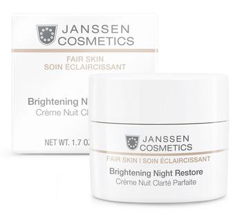 JANSSEN Крем осветляющий ночной / Brightening Night Restore FAIR SKIN 50млКремы<br>Крем двойного действия: эффективно осветляет и интенсивно увлажняет, придавая коже безупречно ровный тон и сияние. Комплекс SORR, липоаминокислота и раствор диацетил болдина блокируют синтез меланина, а экстракт красных водорослей заботится о насыщении кожи влагой. Кожа становится гладкой и шелковистой. Активные ингредиенты: липоаминокислота, раствор диацетил болдина, комплекс растительных экстрактов SORR, экстракт красной водоросли Chondrus crispus, тонкая полиамидная пудра. Способ применения: наносите каждый вечер на предварительно очищенную кожу лица, шеи и области декольте.<br><br>Вид средства для лица: Отбеливающий<br>Время применения: Ночной