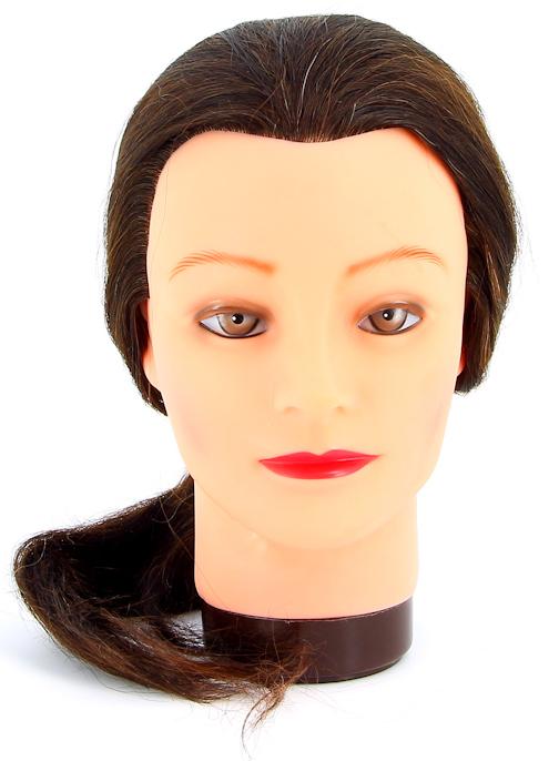 DEWAL PROFESSIONAL Голова учебная шатенка, натуральные волосы 45-50 см