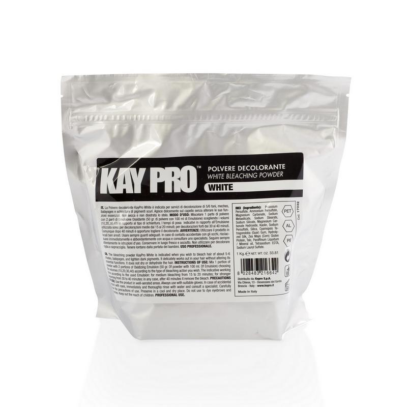 KAYPRO Порошок обесцвечивающий белый / KAY PRO 1000грПудры<br>Только для профессионального использования. Обесцвечивающий порошок с мощным осветляющим эффектом, гарантирующий максимальный результат, быстроту работы и надежность при полной безопасности для клиента. Протеины пшеницы обеспечивают питание волос, реконструкцию и увлажнение. Состав: персульфат калия, Пероксидисульфат аммония, Карбонат магния, Метасиликат натрия, Стеарат натрия, Силикат натрия, Магниевая соль, Каолин, Натрия персульфат, Силика, Гуаровая камедь (Гороховое дерево), Протеины шелка, Клейковина зерна, Тальк, Минеральное масло, Лаурилсульфат натрия, Ультрамарин. Способ применения: в неметаллической посуде смешать содержимое одного пакетика с 60 мл окисляющей эмульсии (1:2) и перемешать до одного состояния. Нанести на сухие немытые волосы и оставить от 15 до 45 минут, в зависимости от типа волос и желаемой степени осветления. Хорошо смыть. Важно: работать в перчатках, использовать защитный крем. Избегать попадания в глаза и дыхательные пути. При попадании продукта в глаза или на кожу — смыть немедленно обильным количеством воды. Держать в недоступном для детей месте.<br><br>Тип: Порошок<br>Вид средства для волос: Осветляющая<br>Пол: Женский<br>Класс косметики: Профессиональная<br>Типы волос: Для всех типов
