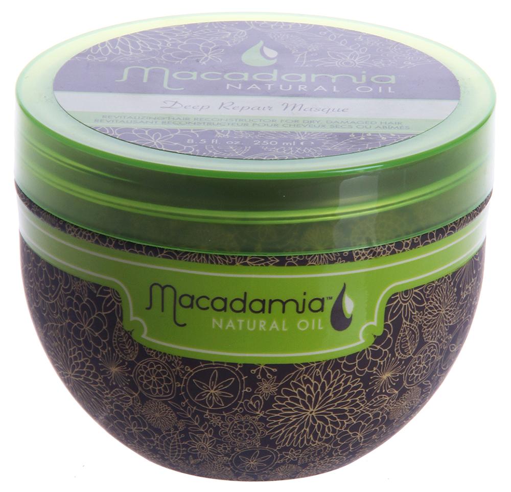 MACADAMIA Natural Oil Маска восстанавливающая интенсивного действия с маслом арганы и макадамии / Deep Repair Masque 250млМаски<br>Оживляющий реконструктор сухих, поврежденных волос. Сочетание масла макадамии и арганы вместе с маслами чайного дерева, ромашки, алоэ и экстрактов водорослей оживляет и восстанавливает волосы, глубоко питая их и возвращая им эластичность и блеск, с пролонгированным кондиционирующим эффектом. Активные ингредиенты: Масло макадамии и арганы, масла чайного дерева, ромашки, алоэ, экстракты водорослей. Способ применения: Распределите небольшое количество маски на чистых, вымытых шампунем и подсушенных полотенцем волосах от корней до кончиков. Оставьте для воздействия на 7 минут. Смойте. Не используйте чаще двух раз в неделю.<br><br>Объем: 250<br>Вид средства для волос: Восстанавливающий