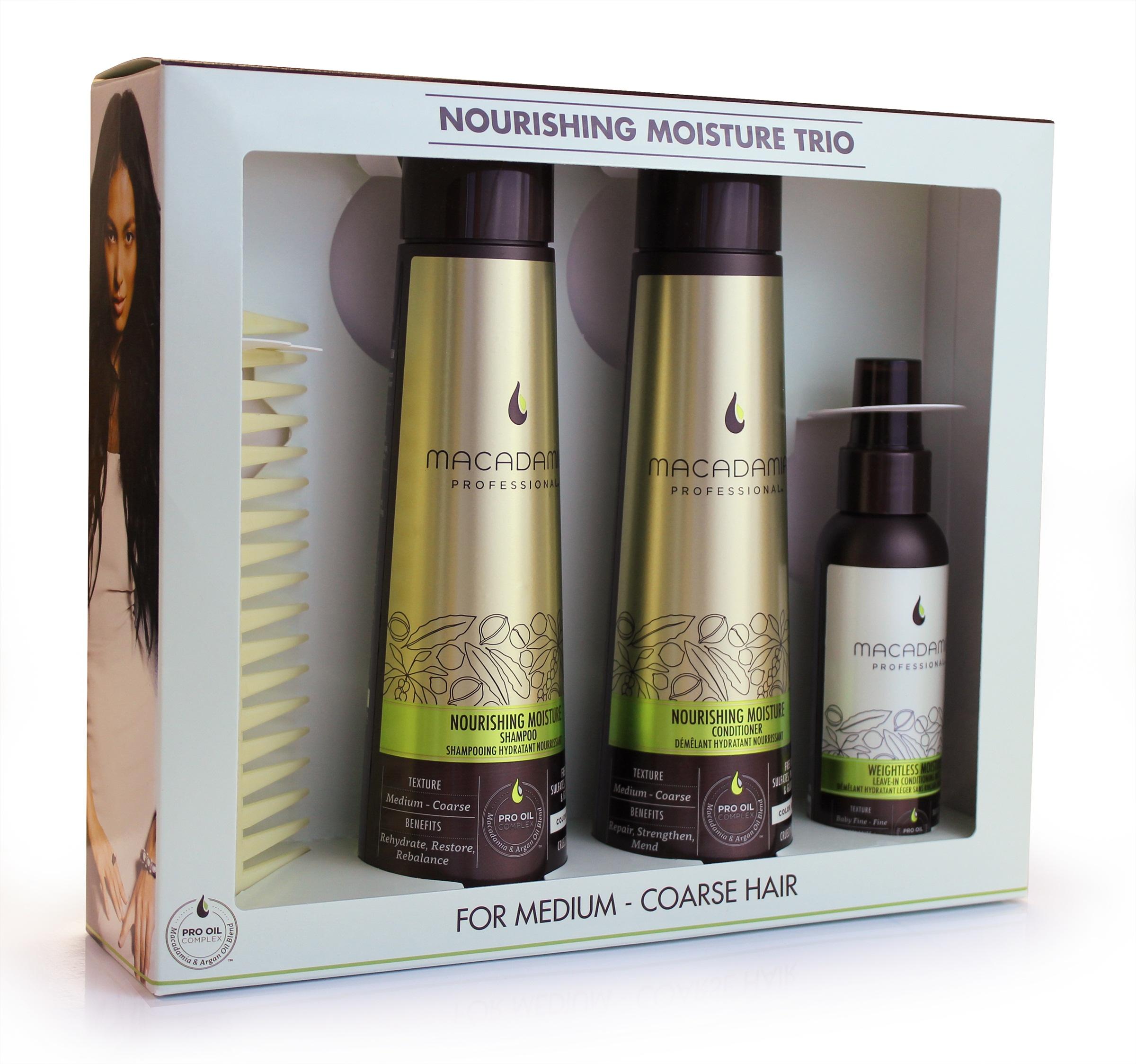 MACADAMIA PROFESSIONAL Набор для всех типов волос (шампунь питательный 300мл + кондиционер питательный 300мл + спрей кондиционер 100мл + гребень) чартер для всех