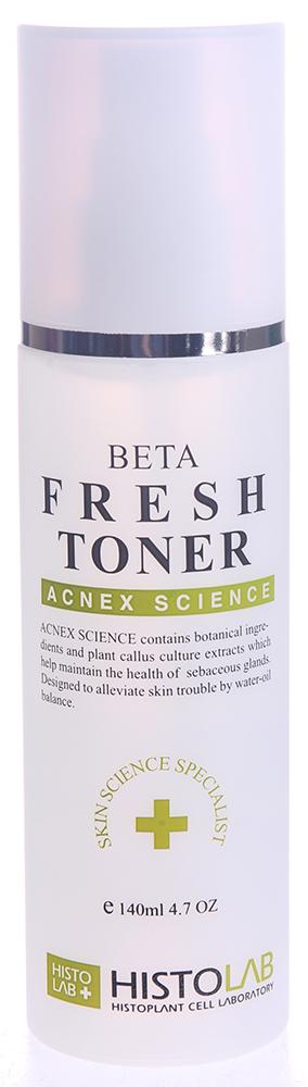 HISTOLAB Тоник очищающий / Beta Fresh Toner ACNE SCIENCE 140млТоники<br>Способствует очищению кожи, вытягивая гной из ее пораженных участков. Оказывает противовоспалительное, антибактериальное, а также обезболивающее действие. Удерживает влагу в коже. Активизирует деление клеток; ускоряет заживление и смягчает раздражения; улучшает структуру эпидермиса; защищает, увлажняет и смягчает эпидермис. Подходит для жирной и проблемной кожи. Активные ингредиенты: культуры каллусных клеток (томат, рис), экстракты прострела корейского, уснеи, плодов японского перца, центеллы азиатской, плодов понцируса трехлисточкового, плюща обыкновенного, перечной мяты, листа окопника аптечного, портулака огородного, коры шима, плода псорелеи, корня софоры, масло чайного дерева, сок листа алое, аргинин, триклозан, салициловая кислота, гиалуроновая кислота, бета-глюкан, бетаин, В5. Способ применения: нанесите тоник на чистую кожу с помощью ватного диска или распылите спрей на лицо на расстоянии 10 см. и дайте влаге высохнуть. Домашний уход для утреннего и вечернего применения.<br><br>Вид средства для лица: Очищающий<br>Класс косметики: Домашняя