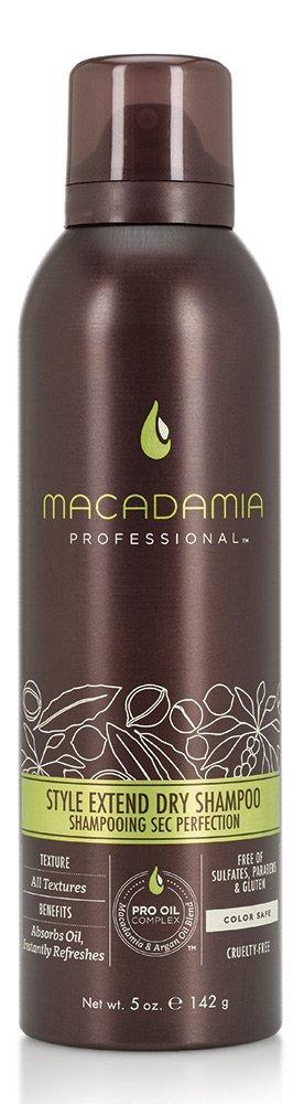 MACADAMIA PROFESSIONAL Шампунь сухой Продли свой стиль / Style Extend Dry Shampoo 142грШампуни<br>Легкий сухой шампунь Macadamia Professional с экстрактами алое вера, цветов пассифлоры и рисовым крахмалом продлевает срок укладки и созданного образа. Абсорбирует загрязнения и себум, мгновенно освежает волосы. Ваши волосы снова чистые, подвижные и объемные! Преимущества: Создает ощущение чистоты и свежести Не оставляет налета Подходит для всех типов волос Активные ингредиенты: Масло макадамии Масло арганы Рисовый и картофельный крахмалы Вулканический пепел Экстракт цветов пассифлоры Экстракт алоэ вера Состав: Изобутан, Спирт денатурированный, Рисовый Крахмал, Картофельный крахмал, Бутан, Октенилсуццинат Алюминия Крахмал, Вулканический пепел, Масло макадамии, Аргановое масло, Экстракт корня имбиря, Экстракт Киви, Экстракт Маракуйи, Экстракт АлоэВера, Пантенол, Ацетат Витамина Е, Диоксид Кремния, Бензойная кислота, Сорбиновая кислота, Вода , Этилгексил Метоксиннамат, отдушка, Хлофенезин, Феноксиэтанол, Эвгенол, Гексил Циннамал, Линалоол, Бензил Салицилат Способ применения: тщательно встряхните и распылите в корни волос с расстояния 20-25 см. Выдержите 1-2 минуты, расчешите волосы.<br><br>Типы волос: Для всех типов<br>Консистенция: Сухая
