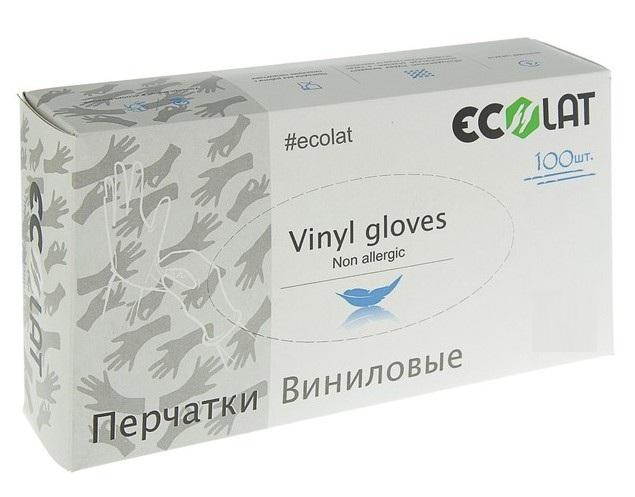 Купить ECOLAT Перчатки виниловые, прозрачные, размер XL / EcoLat 100 шт