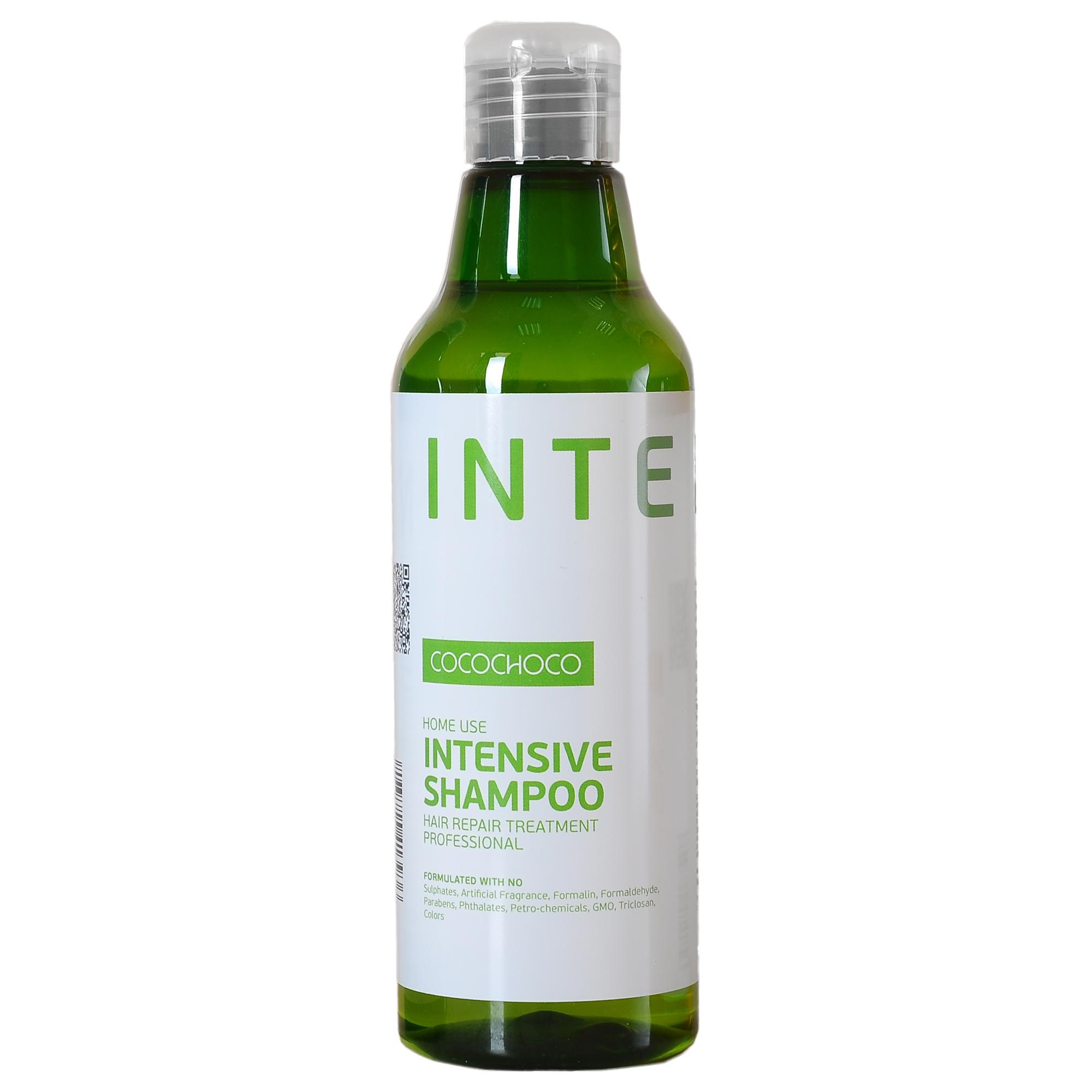 COCOCHOCO Шампунь для интенсивного увлажнения / INTENSIVE 250 млШампуни<br>Шампунь Intensive Shampoo для интенсивного увлажнения и ухода за сухими и повреждёнными волосами. Глубоко проникает в структуру волоса, питает от корней до самых кончиков, устраняет и предотвращает ломкость, облегчает расчёсывание. Идеально подходит как средство ухода после процедуры кератинового восстановления волос. Способ применения: нанесите на влажные волосы массируя, равномерно распределите по волосам. Добавьте еще немного воды и помассируйте снова. Оставьте на 1-2 минуты. Тщательно смойте и повторите при необходимости. Активные ингредиенты: KERAMIMIC   натуральный кватернизированный кератин, технология биомиметики воссоздает материю волоса, восстанавливает полипиптидные цепочки, саморегулируемая формула. MIRUSTYLE   снижает пушистость, придает гладкость волосам, отлично работает как на прямых, так и на вьющихся волосах. LUSTRAPLEX   интенсивный компонент глубокого действия, распутывает волосы и облегчает расчесывание, придает сияние и блеск.<br><br>Объем: 250 мл