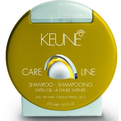 KEUNE Шампунь Кэе Лайн Шелковый уход / CL SATIN OIL SHAMPOO 250млШампуни<br>Нежный шампунь для тусклых сухих волос. Инновационная невесомая формула двойной технологии из минералов и смеси эфирных масел придает волосам здоровый вид, блеск, мягкость, сияние, а также прекрасно увлажняет волосы изнутри. Результат - сильные, здоровые и шелковистые волосы. Активные ингредиенты: природные минералы, провитамин В5, масло маракуйи, масло сладкого миндаля, масло янгу. Способ применения: нанести на мокрые волосы, вспенить и смыть.<br><br>Типы волос: Сухие