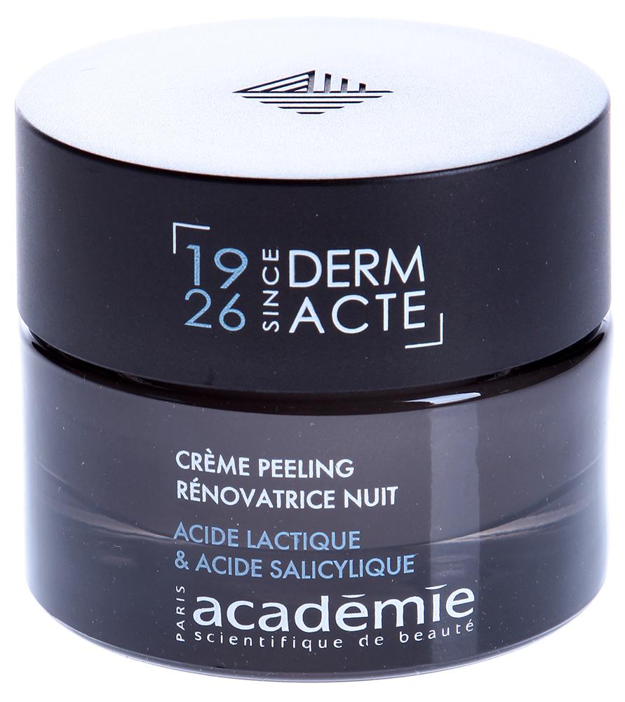 ACADEMIE Крем-эксфолиант обновляющий ночной / DERM ACTE 50млПилинги<br>Интенсивный ночной уход для зрелой кожи. Обладает великолепными разглаживающими и отшелушивающими свойствами. Запускает процессы интенсивного обновления во время сна. Активизирует выработку собственного коллагена и эластина кожи, а так же гиалуроновой кислоты. Разглаживает сеть мелких морщин и заметно уменьшает глубокие. Кожа выглядит моложе день за днем. Результат: Возрастная кожа заметно подтянута и выглядит гораздо моложе. Морщины разглажены, уровень влаги в коже восстановлен. Активные ингредиенты: гликолевая кислота 2.10%,&amp;nbsp;молочная кислота 0.90%,&amp;nbsp;салициловая кислота 0.20%,&amp;nbsp;азелаиновая кислота - глицин 1%,&amp;nbsp;увлажняющий агент растительного происхождения 3%,&amp;nbsp;укрепляющий агент (тетрапептид и трипептид) 3%,&amp;nbsp;витамин E 0.05%,&amp;nbsp;концентрация эксперт-ингредиентов 16,55%. Способ применения:&amp;nbsp;нанести крем на очищенную и тонизированную кожу и впитать мягкими массажными движениями.<br><br>Вид средства для лица: Восстанавливающий<br>Типы кожи: Возрастная<br>Назначение: Морщины<br>Время применения: Ночной