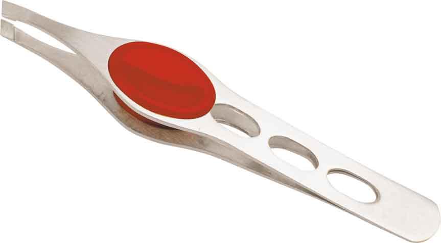DEWAL BEAUTY Пинцет косметический цветной, серебряный/красный 10 см пинцеты dewal пинцет прямой
