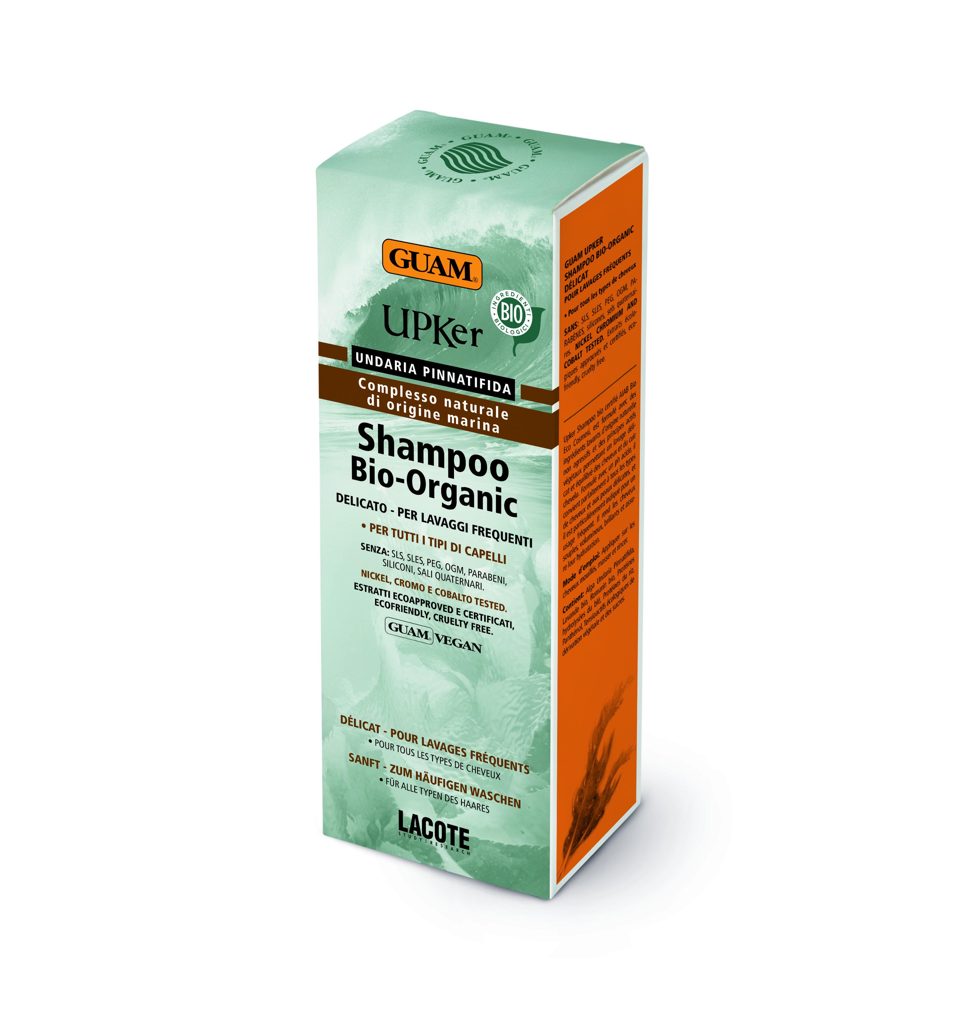 GUAM Шампунь деликатный БИОорганический 200 мл / UPKER GUAM Shampoo Bio-Organic DelicatoШампуни<br>ШАМПУНЬ ДЕЛИКАТНЫЙ БИООРГАНИЧЕСКИЙ имеет специальный экологический сертификат AIAB Bio Eco Cosmesi, который подтверждает, что все ингредиенты средства исключительно природного растительного происхождения и полностью адаптивны по отношению к коже и волосам. Сбалансированный подкисленный pH шампуня деликатно очищает кожу головы и волосы и бережно ухаживает за ними. Рекомендуется для всех типов волос, особенно для чувствительной кожи. Активные ингредиенты: ЭКСТРАКТ ВОДОРОСЛИ UNDARIA PINNATIFIDA, ОРГАНИЧЕСКИЕ ЭКСТРАКТЫ ЛАВАНДЫ, РОЗМАРИНА, СОК АЛОЭ, ГИДРОЛИЗОВАННЫЙ ПРОТЕИН ПШЕНИЦЫ, ГИДРОЛИЗОВАННЫЙ БЕЛОК РИСА, ПАНТЕНОЛ.<br><br>Вид средства для волос: Очищающий<br>Тип кожи головы: Чувствительная<br>Типы волос: Для всех типов