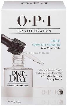 OPI Набор / Crystal Fixation(AL714+ крист пилка)Наборы <br>Покрытие для ногтей Drip Dry Drops OPI представляет собой новое средство для укрепления покрытия натуральных и искусственных ногтей и ухода за кутикулой. Уникальная формула покрытия содержит ухаживающие компоненты.&amp;nbsp;Покрытие два в одном, формирует на поверхности ногтевой пластины тонкий слой, закрепляя лак и ухаживая за кутикулой, придает ногтям великолепный блеск. Результат: Препарат эффективно закрепляет лак, покрывая ногтевую пластину и образуя на ней надежное покрытие, не сушит кутикулу, нежно ухаживая за ней. Капли - сушка для лака формируют ровную, гладкую поверхность на ваших ногтях. Способ применения: применение показано во время процедур маникюра и педикюра. Можно использовать как в салонах, так и самостоятельно, в домашних условиях. Используется для закрепления лака. Наносится в виде 1-2 капель на подготовленную поверхность натуральных или искусственных ногтей. За 5 минут просушить.<br>