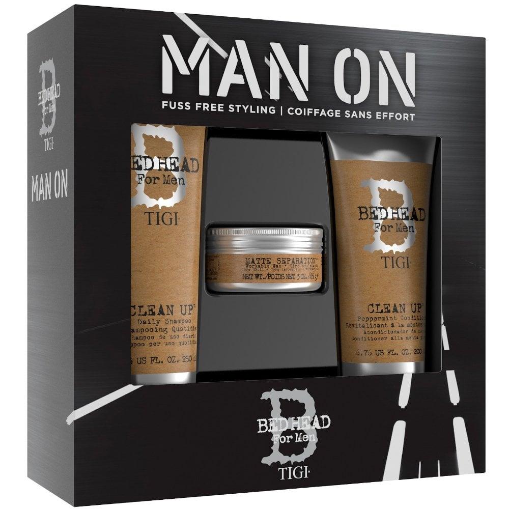 TIGI Набор мужской для волос (шампунь 250 мл, кондиционер 200 мл, воск 85 г) BED HEAD FOR MEN DANDY - Муссы