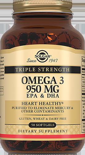 SOLGAR Тройная Омега-3 950 мг ЭПК и ДГК, капсулы № 50