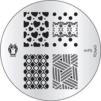 KONAD Форма печатная (диск с рисунками) / image plate M95 10грСтемпинг<br>Диск для стемпинга Конад М95 с совой, изящными узорами из сердечек, неповторимой абстракцией и шахматной доской с ромбами. Несколько видов изображений, с помощью которых вы сможете создать великолепные рисунки на ногтях, которые очень сложно создать вручную. Активные ингредиенты: сталь. Способ применения: нанесите специальный лак&amp;nbsp;на рисунок, снимите излишки скрайпером, перенесите рисунок сначала на штампик, а затем на ноготь и Ваш дизайн готов! Не переставайте удивлять себя и близких красотой и оригинальностью своего маникюра!<br>
