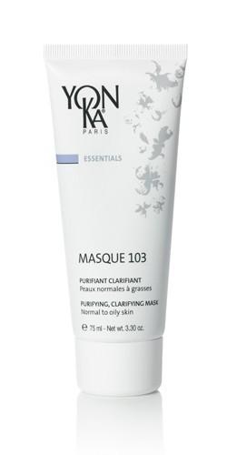 YON KA Маска Masque 103 / ESSENTIALS 75млМаски<br>Очищающая маска для нормальной, комбинированной и жирной кожи. Обладает мягкой кремообразной текстурой и легким свежим ароматом. Очищает и осветляет эпидермис, благодаря свойству локальной детоксикации. Стягивает расширенные поры. Снимает воспаления, поэтому рекомендуется для проблемной кожи. Активные ингредиенты: три вида глин (зеленая, бентонит, белая), эфирные масла апельсина, чабреца, кипариса, лаванды, герани розмарина, тимьяна. Способ применения: нанести толстым слоем на 15 минут после очищения кожи и распыления лосьона Yon-Ka, затем смыть теплой водой. Для достижения максимального эффекта и состояния полного комфорта советуем использовать маску во время ароматической ванны с Phyto-Bain. Предварительно на контуры глаз и губ нанесите Phyto-Contour.<br>