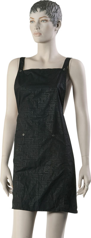 DEWAL PROFESSIONAL Фартук мастера для стрижки Буквы, нейлон, черный 76х65 см