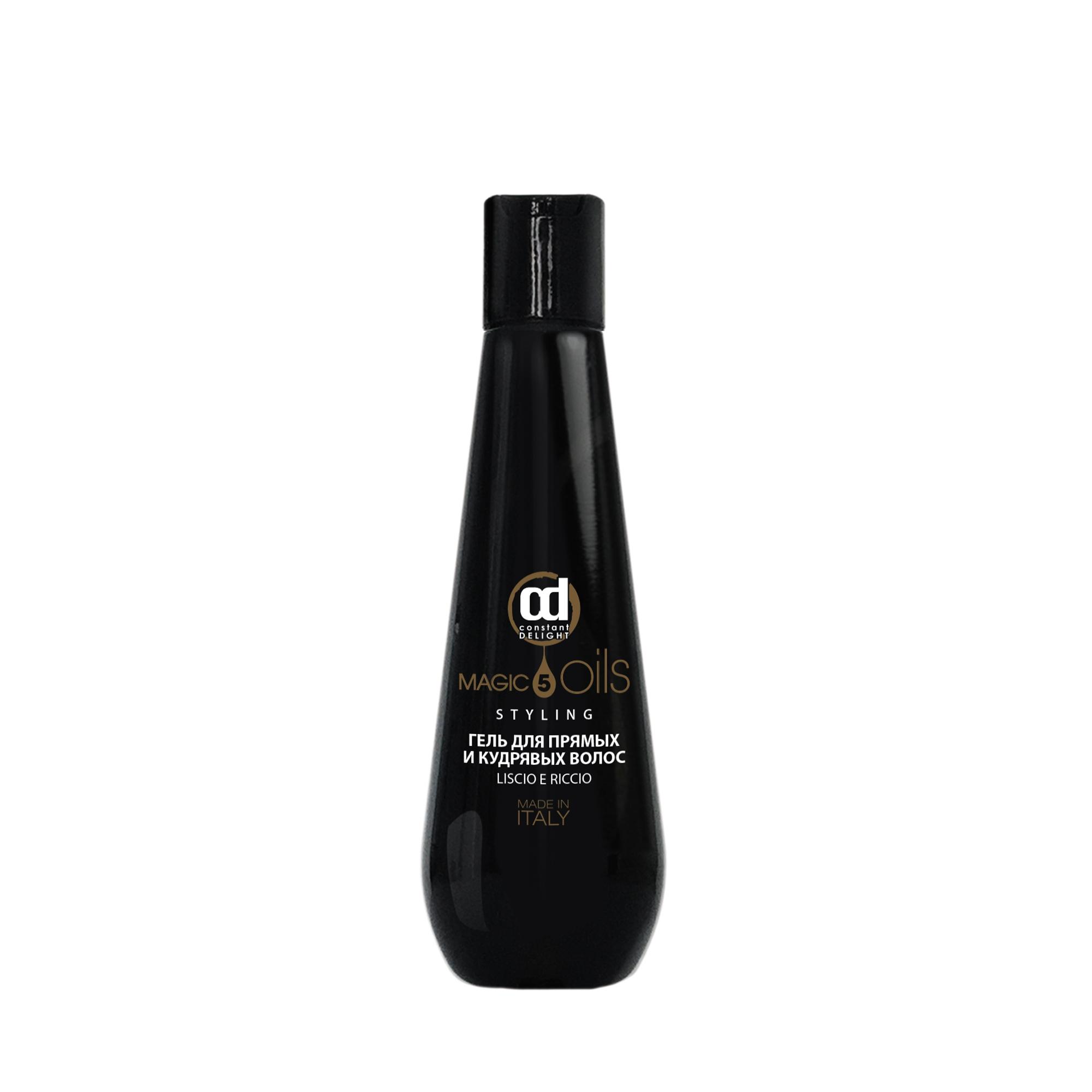 CONSTANT DELIGHT Гель для прямых и кудрявых волос / 5 Magic Oil 200 млГели<br>Гель представляет собой защитное укладочное средство, позволяющее увеличить плотность волос. Использование геля перед применением фена и утюжков гарантирует результат гладких и блестящих волос. Великолепно увлажняет кудрявые или волнистые волосы, делая их более упругими. Формула геля, состоящая из  5 Магических Масел : Макадамии, Хлопка, Жожоба, Авокадо, Арганы, увлажняет, питает и защищает структуру волос, возвращая им жизненную силу. Активные ингредиенты: масла Макадами, Хлопка, Жожоба, Авокадо и Арганы. Способ применения: до начала укладки равномерно нанести средство на чистые, подсушенные полотенцем волосы.<br><br>Типы волос: Для всех типов